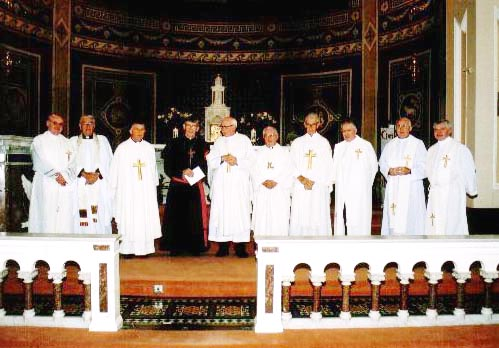 Left to Right; Fr. Michael Kidney, (Honan Home), Canon Salter (retired) St. Lukes CoI, Fr. Christy O'Shaughnessy, Bishop John Buckley,Canon Liam Leader, Canon Colman Donovan, PP Inniscarra, Fr. Con Kiely, (first cousin, home from Ecuador), Fr. Sean O'Connell CSSP, Rockwell, Fr. Kerry Murphy O'Conner, PP Turners Cross, Fr. Tom Hayes, Diocesan Office.
